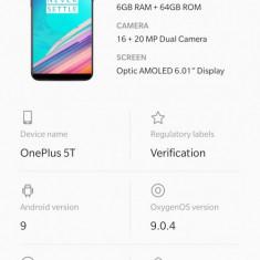 OnePlus 5T 6GB RAM, 64 GB ROM,Dual Sim, Midnight Black, 64GB, Negru, 6 GB