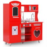 Bucătărie de jucărie pentru copii, roșu, 84 x 31 x 89 cm, MDF