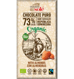 Ciocolata neagra BIO 73% cacao, cu migdale, 150 gr Chocolates Sole
