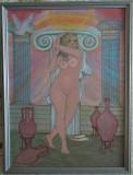 """Tablou """"Nud antic II"""", pictat in culori acrilice, 42,5x32,5 cm, cu rama din lemn"""