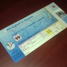Bilet Fotbal ANGLIA - ROMANIA EURO 2000 Charleroi Belgia