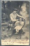 AX 493 CP VECHE-MAMA SI FICA IN TINUTA DE EPOCA SI PISICA -1905-SOFIA -BULGARIA, Circulata, Printata