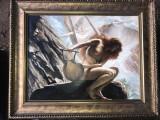 Nimfa. Pictura Peisaj marin cu femeie nud. Tablou pictat manual ulei 100%