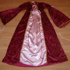 costum carnaval serbare rochie medievala printesa regina pentru copii 7-8-9 ani