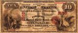 10 dolari 1874 Reproducere Bancnota USD , Dimensiune reala 1:1