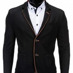 Sacou pentru barbati negru casual slim fit cu buzunare aplicate elegant inchidere doi nasturi M82