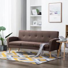 Canapea de 3 persoane, material textil, maro
