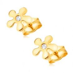 Cercei din aur 585 - floare strălucitoare cu un diamant rotund transparent