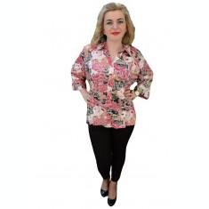 Camasa casual, cu imprimeu floral in nuante de roz, marimi mari