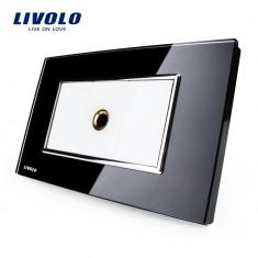 Priza cu mufa pentru microfon Livolo cu rama din sticla – standard italian, Negru