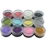 Set 12 doze sclipici glitter pentru unghii
