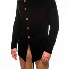 Hanorac pentru barbati negru stil palton inchidere laterala nasturi casual slim fit B310