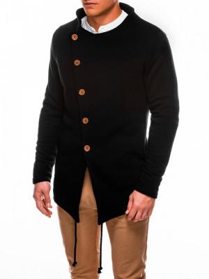Hanorac pentru barbati negru stil palton inchidere laterala nasturi casual slim fit B310 foto