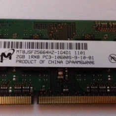 Memorie RAM laptop Micron 2GB DDR3 PC3 10600 1333MHz