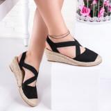 Sandale dama cu platforma negre Plemisa
