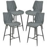 [en.casa]® Set 4 bucati scaune bar Planica, 102,5 x 46,5 cm, poliester/metal, gri inchis HausGarden Leisure
