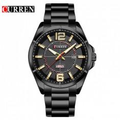 Ceas de mana barbati elegant, negru, Curren Waterproof M8271NGOLD