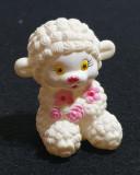 Jucarie veche de colectie - figurina din cauciuc MIEL - Oita cu flori roz