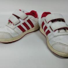 Adidasi marca Adidas pentru copii, alb-rosu, marimea 23