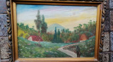 Ulei pe carton școală Baia Mare semnat 32/42 cm, redus, Natura, Realism