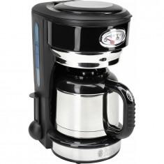 Cafetiera Retro Classic Noir 21711-56, 1000 W, 8 cesti, cana Termica 1L, negru/inox, Russell Hobbs