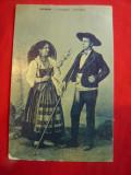 Ilustrata - Costume populare din Minho - Portugalia ,circulat 1907 la Bucuresti