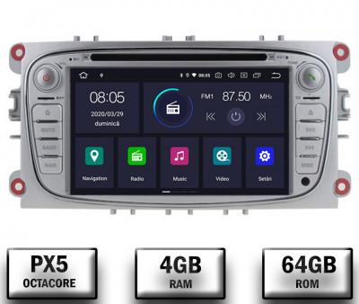 NAVIGATIE FORD FOCUS MONDEO S-MAX Transit Tourneo, ANDROID 10, Octacore PX5 4GB RAM + 64GB ROM CU DVD, 7 INCH - AD-BGWFORDO7P5-S foto