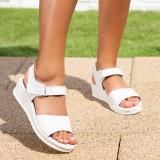Sandale cu talpa ortopedica dama Piele albe Sandelia