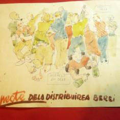 Caricatura- Tus si Acuarela -Distribuirea Berii -cu demonstratie  ,anii '50