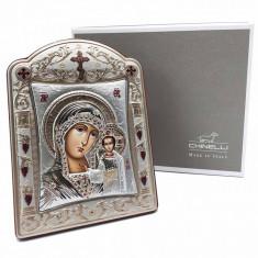 Icoana Fecioara Maria cu Pruncul placata cu aur si argint by Chinelli - Made in Italy