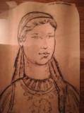 Cumpara ieftin Grafică Utemista Barbu Mărioara, anii 50-60 comunism 59x35 cm, realism socialist, Portrete, Carbune