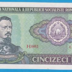 (2) BANCNOTA ROMANIA - 50 LEI 1966, PORTRET A.I. CUZA, STARE FOARTE BUNA, AUNC