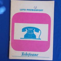 AGENDA TELEFOANE , LOTO-PRONOSPORT , PERIOADA COMUNISTA