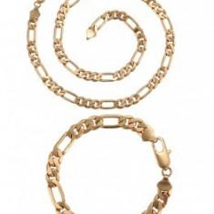 Set bijuterii Lant+Bratara,dublu placat Aur 18K,83grame