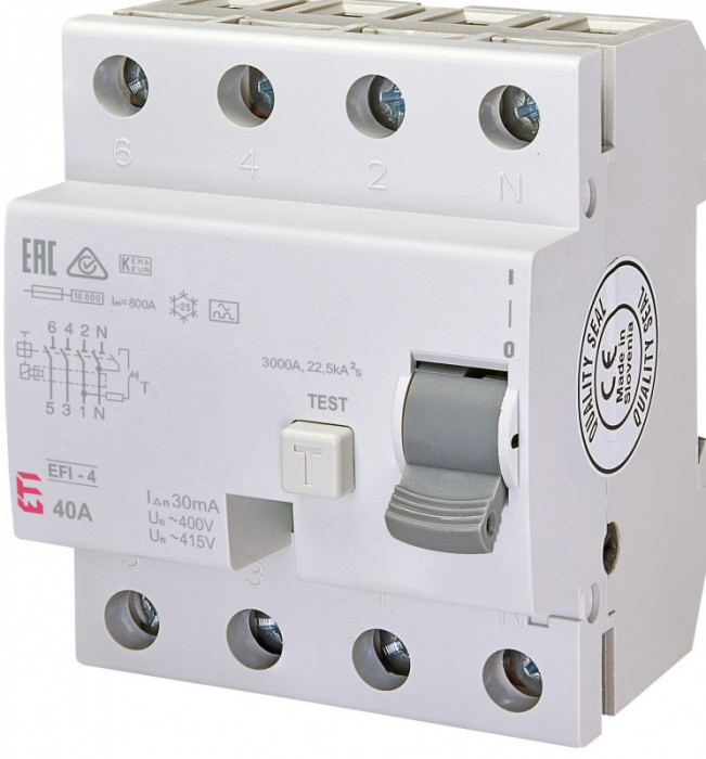 Siguranta automata diferentiala trifazata EFI-4 A 40/0.03 eti