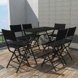 Cumpara ieftin Set mobilier exterior pliabil, 7 piese, negru oțel, poliratan