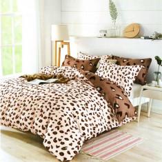 Lenjerie de pat dublă, bumbac de finet, 6 piese, model Tigre