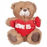 Ursulet cu inima si scris ''LOVE IS'', Culoarea Maro, 28 cm
