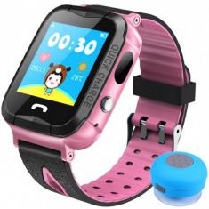 Ceas GPS Copii iUni Kid6, Touchscreen, Telefon incorporat, BT, Camera 2MP, Buton SOS, Rezistent la apa, Roz + Boxa Cadou