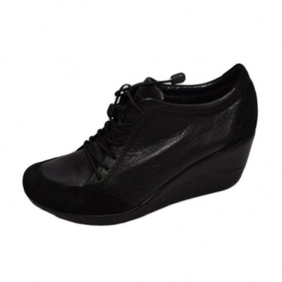Pantof cu siret si talpa ortopedica, din piele naturala neagra foto