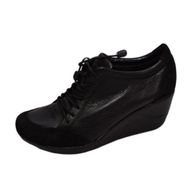 Pantof cu siret si talpa ortopedica, din piele naturala neagra
