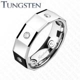 Cumpara ieftin Inel unghiular din tungsten, cu pătrate și zircon - Marime inel: 67
