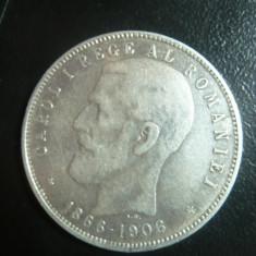 Moneda 5 lei 1906 Cap-Cap -Carol I -Comemorativa ,argint ,cal.F.Buna