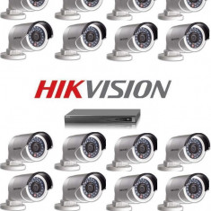 Kit nvr 16 canale video 8 PoE 16 camere ip exterior Hikvision