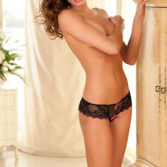 Bikini Rene Crotchless Lace Thong with Bows M/L