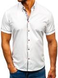 Cumpara ieftin Cămașă elegantă pentru bărbat cu mâneca scurtă albă Bolf 5509-1