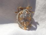 BROSA argint FLOARE de LIS exceptionala AURITA ornata cu ZIRCONII splendida RARA