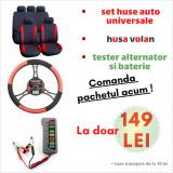 Pachet huse auto universale RED + husa volan + tester baterie si alternator PAC HSVT145RED