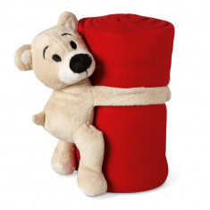 Patura polar cu ursulet 120x80 cm, lana, Everestus, PA17, rosu, saculet sport inclus