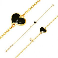 Brățară din aur 585 - inimă neagră, simetrică și zirconiu transparent, lanț îngust, 180 mm